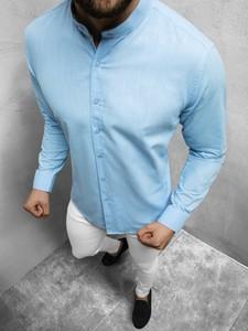 Niebieska koszula Ozonee z klasycznym kołnierzykiem