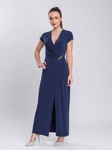 Sukienka Semper maxi z krótkim rękawem z dekoltem w kształcie litery v