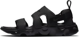 Czarne sandały Nike z płaską podeszwą w stylu casual