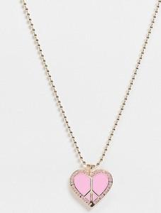Reclaimed Vintage Inspired – Naszyjnik w kolorze złotym z różową emaliowaną zawieszką w kształcie serca-Wielokolorowy