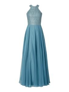 Niebieska sukienka Luxuar rozkloszowana bez rękawów