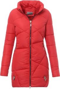 Czerwona kurtka fasoni.pl długa w stylu casual