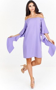 Fioletowa sukienka Nubile mini z odkrytymi ramionami
