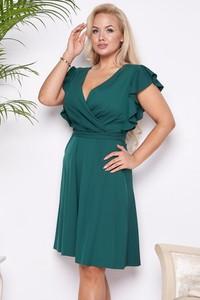 Zielona sukienka Ella Boutique z krótkim rękawem z dekoltem w kształcie litery v z tkaniny