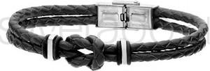 Silverado Czarna bransoleta z plecionego rzemienia z marynarskim wzorem - 77-BA590B
