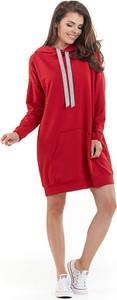 Czerwona sukienka Awama w stylu casual mini