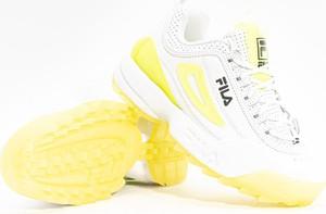 Żółte buty sportowe Fila sznurowane disruptor