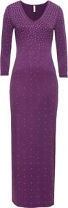 Fioletowa sukienka bonprix BODYFLIRT boutique z dekoltem w kształcie litery v z długim rękawem