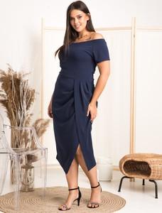 Sukienka KARKO z tkaniny z krótkim rękawem