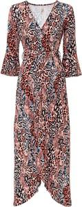 Sukienka bonprix z dekoltem w kształcie litery v maxi z długim rękawem