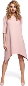 Różowa sukienka MOE asymetryczna w stylu casual