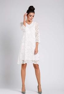 Sukienka Nommo midi z długim rękawem z dekoltem w kształcie litery v