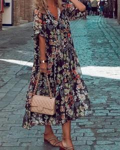 Sukienka Kendallme maxi z długim rękawem z szyfonu