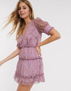 Fioletowa sukienka The East Order z dekoltem w kształcie litery v w stylu casual mini