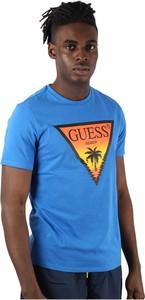 Niebieski t-shirt Guess z bawełny