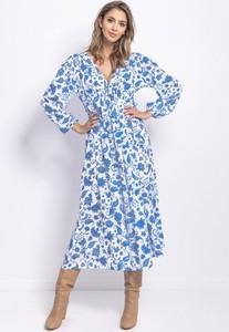 Sukienka FLORENCE z dekoltem w kształcie litery v maxi z długim rękawem