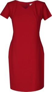Czerwona sukienka Fokus midi z dekoltem w kształcie litery v w stylu casual