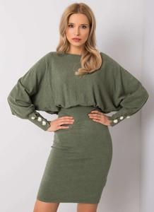 Zielona sukienka Sheandher.pl mini z długim rękawem