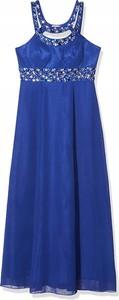 Niebieska sukienka Inna bez rękawów z dekoltem w kształcie litery v maxi