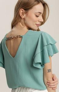 Zielona bluzka Renee z okrągłym dekoltem w stylu casual