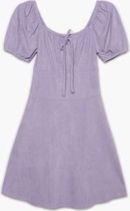 Fioletowa sukienka Cropp mini w stylu casual trapezowa