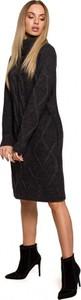 Czarna sukienka MOE z golfem z długim rękawem midi