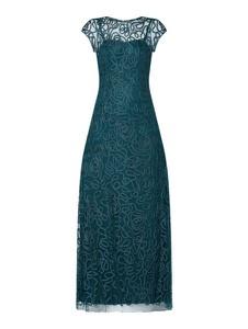 Zielona sukienka Luxuar z krótkim rękawem z okrągłym dekoltem