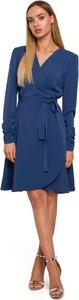 Sukienka MOE z dekoltem w kształcie litery v z długim rękawem