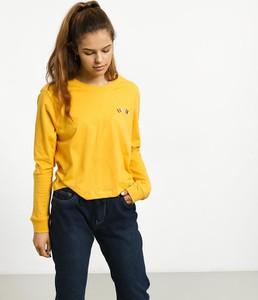 Żółta bluzka Element w stylu casual z bawełny z długim rękawem