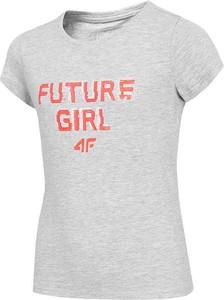 Koszulka dziecięca 4F z bawełny dla dziewczynek z krótkim rękawem