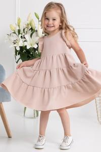 Różowa sukienka dziewczęca KARKO z tkaniny