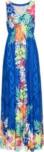 Sukienka bonprix BODYFLIRT boutique bez rękawów maxi z dekoltem w kształcie litery v