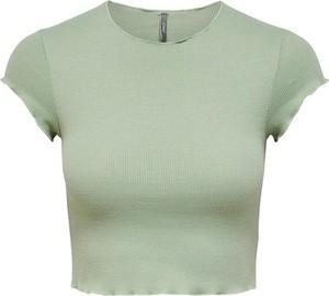 Zielona bluzka Only w stylu casual z krótkim rękawem z okrągłym dekoltem