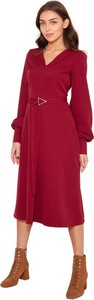 Czerwona sukienka Lanti z tkaniny z długim rękawem