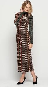 Sukienka Lavard z tkaniny z długim rękawem maxi
