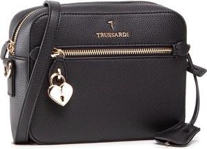 Czarna torebka Trussardi matowa średnia na ramię
