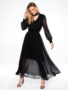 Czarna sukienka L'AF z tkaniny z dekoltem w kształcie litery v maxi