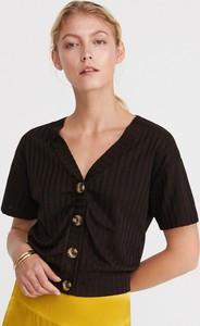 Czarny t-shirt Reserved z krótkim rękawem