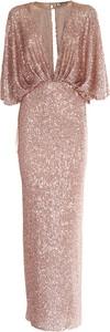 Sukienka Elisabetta Franchi z długim rękawem maxi z dekoltem w kształcie litery v