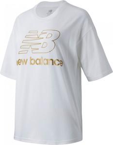 Bluzka New Balance w sportowym stylu z krótkim rękawem z dzianiny