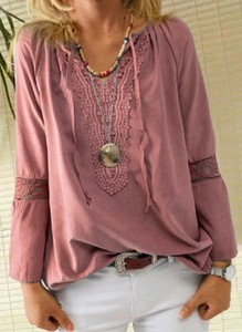 Bluzka Sandbella z długim rękawem w stylu boho