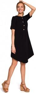 Czarna sukienka MOE z okrągłym dekoltem z bawełny z krótkim rękawem