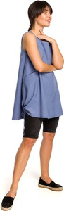 Niebieska tunika MOE bez rękawów oversize z okrągłym dekoltem