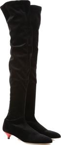 Czarne kozaki Gia Couture za kolano na zamek ze skóry