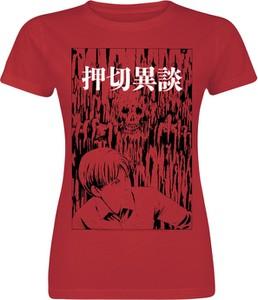 Czerwony t-shirt Emp z krótkim rękawem w młodzieżowym stylu z okrągłym dekoltem