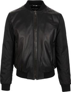 Czarna kurtka Dolce & Gabbana w stylu casual ze skóry