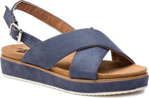 Niebieskie sandały Refresh w stylu casual na koturnie