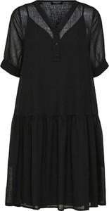 Czarna sukienka Selected Femme mini z dekoltem w kształcie litery v z krótkim rękawem
