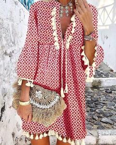 Czerwona sukienka Kendallme oversize z długim rękawem w stylu boho