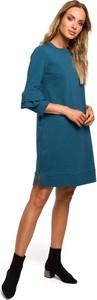 Niebieska sukienka Merg z okrągłym dekoltem
